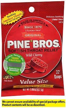 Pine Bros. Softish Throat Drops Wild Cherry - 32 ct, Pack of 4
