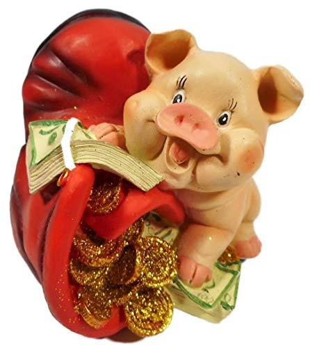GIK Hucha con forma de cerdo con zapatos, 12 x 11 x 10 cm, hucha con forma de animales 2409 B