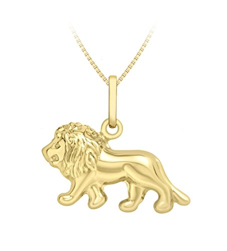 Carissima Gold 9ct Yellow Gold Lion King Pendant on Box Chain Necklace of 46cm/18'