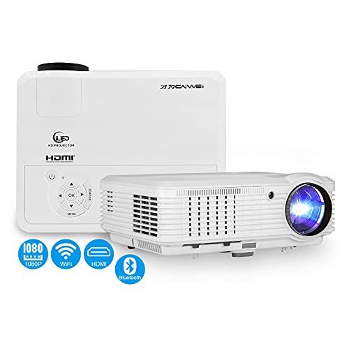 WiFi Wireless Full HD 1080P Projector Bluetooth Android Smart Projector 5000 Lumen Airplay/ Miracast HDMI/ USB Compatible with Smartphones/ Tablets/ PCs/ Fire TV Sticks/ DVD Players/ PS4