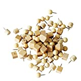 Shinywear 69 Pieces Wood Push Pins,4 Different Geometric Shape Wooden Thumbtacks Decorative for Cork Bulletin Boards Map Home Office Picture Calendar Holder