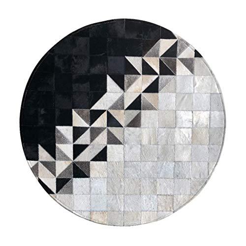 Woonkamertapijt, koeienhuid, Scandinavische stijl, lederen tapijt, voor woonkamer, bank, salontafel, tapijt, decoratie, tapijt, diameter 150 cm Diameter200cm