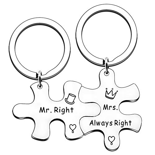 JMIMO Mr. Right and Mrs. Always Right 2-Piece Keyrings Set, Wedding Engagement Gifts for Husband Wife Newlywed Couples Bride Groom Anniversary Bridal Shower