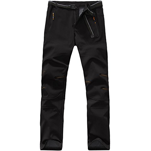 Yo-Yo2015 Mens Softshell Pants Waterproof Windproof Hiking Outdoor Soft Shell Trousers 1607 Black Medium