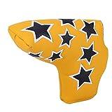Material de Cuero PU de la Cubierta del Putter Headcover del Palo de Golf, Golf Sport(Yellow)