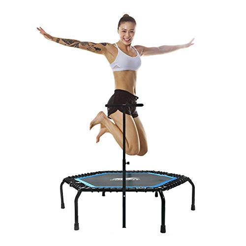 """JOINFIT 50"""" Foldable Mini Trampoline-Fitness Rebounder Bounceboard with Adjustable Handle Max Load 330lbs Suitable for Jumping Workout Gym for Adults Kids"""