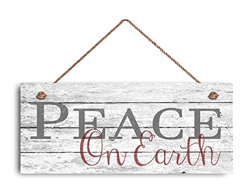 Peace ON Earth Sign Christmas Sign Rustic Holiday Decor Holiday Wall Hanging Door Hanging Signs Hanging Plaque Wood Sign Wood Sign 5x10 in