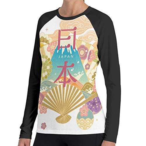 Japan Travel Concept Vrouwen Raglan Zachte Kleur Blok Baseball Lange Mouw Trui Tuniek Top T-Shirts Klassieke Blouses Top Tee