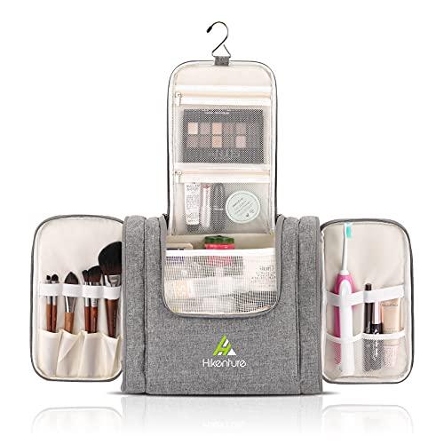 Hikenture Large Travel Hanging Toiletry Bag - Cosmetics Makeup Organizer for Bathroom,Gym, Hotel, Airplane(Grey Large)