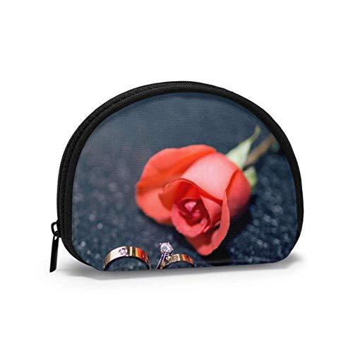 Oxford Stoff Romantische Liebe Rote Rose Paar Ring Münzgeldbörse Kleine Reißverschlusstasche Brieftasche Wechselbeutel Mini Kosmetische Schminktaschen Organizer Mehrzweckbeutel