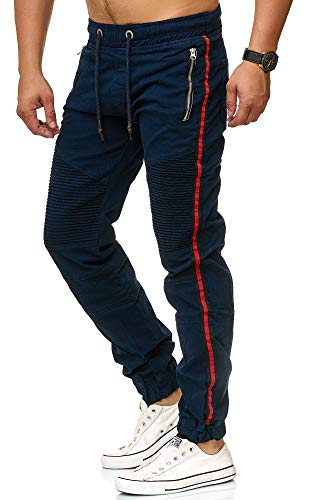 Herren Jogg-Jeans Männer Freizeit-Hose Casual Style Jeans Jogginghosen Herren Slim Fit Jogger Vintage Sweathose Hose 3298 (34W, Navy)