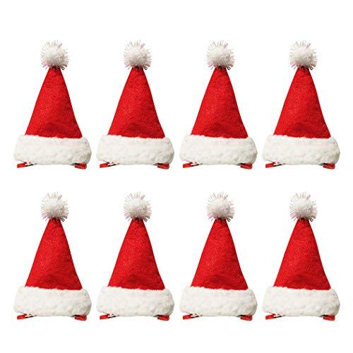 ZOYLINK 8 Stücke Weihnachtsmütze Haarspange Weihnachten Haarspange Haarspange Haarschmuck für Urlaub