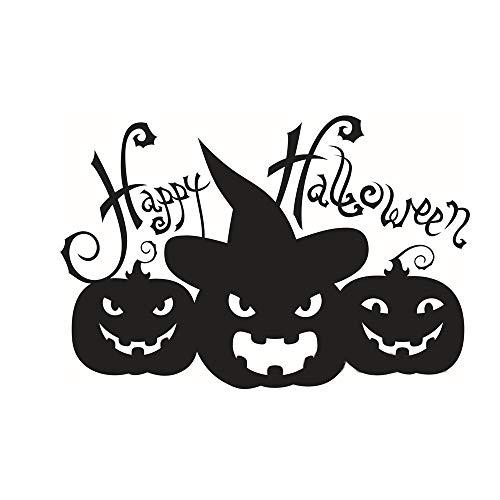 Lzcaure Calcomanías de pared para Halloween, paquete de 2 pegatinas para pared, diseño de calabaza, para decoración de fiestas, color negro, tamaño: 39 x 58 cm