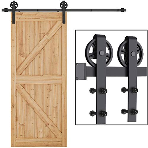 6.6ft Sliding Barn Door Hardware Kit, Dedoot Heavy Duty Single Door Rails, Smoothly and Quietly, Easy to Install, Fit 36'-40' Wide Door Panel (Big Wheel)
