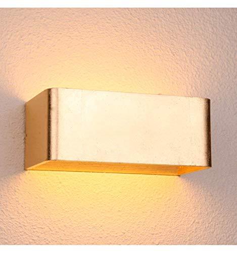 KOSILUM - Applique murale feuille d'or LED - Quadra 20 cm - Lumière Blanc Chaud Eclairage Salon Chambre Cuisine Couloir - 6W - 496 lm - LED intégrée - IP20