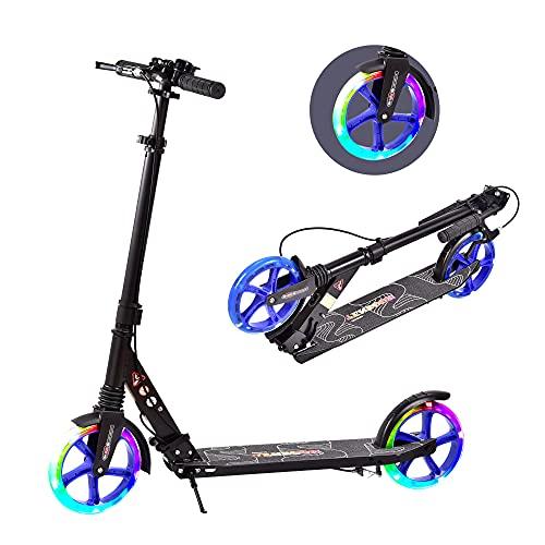 TENBOOM Roller Kinder 10 Jahre, Aluminium Tretroller klappbar Cityroller Höhenverstellbar, Roller Kickscooter mit handbremse und Glocke für Kinder 8 Jahre und Erwachense