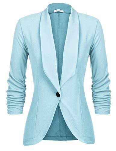 Unibelle Damen Blazer Cardigan Dünn 3/4 Längere Elegant Leicht Bolero Jacke Blazer Slim Fit Anzug Trenchcoat , Aa-hellblau, 42(Herstellergröße:XL)