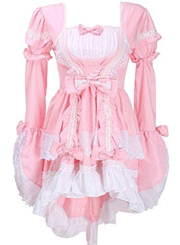 Damen Lolita Gothic Prinzessin Kleid Halloween-Abend Partei Cosplay Kleidung des Mädchens (M, Rosa)