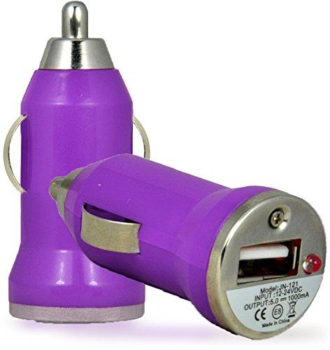 N4U Online®–Aldi Medion Life E500512,7cm Smartphone Universal USB Bullet KFZ-Ladegerät Adapter–Violett