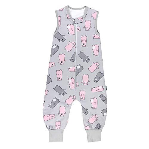 TupTam Baby Unisex Winter Schlafsack mit Beinen, Farbe: Bärchen Rosa/Grau, Größe: 104-110