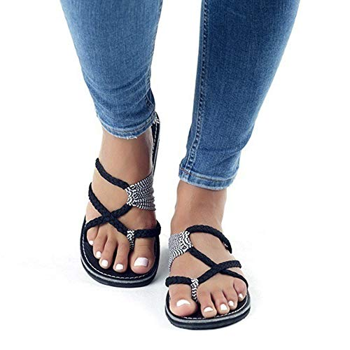 AARDIMI Sandalen Damen Frauen Flip Flops Kreuzband Geflochtene Sandalen Roman Schuhe Sommer Woven Strap Mode Strand Hausschuhe Flacher Anti Rutsch (39 EU, Schwarz 2)