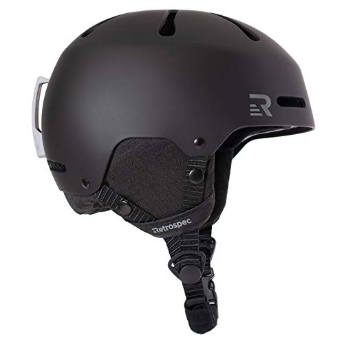 Retrospec Traverse H3 Youth Ski & Snowboard Helmet, Matte Black, Small (52-55cm)