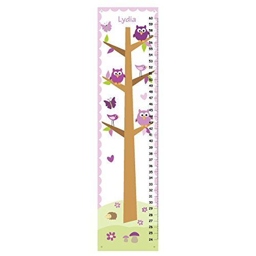 Amazon Com Personalized Girls Growth Chart Stacked Owls Purple Height Chart For Baby Girls Nursery Owls Personalized Wall Art Handmade