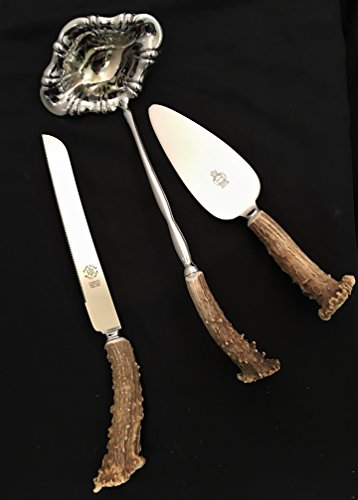 Antler Handled Wedding Serving Set with Knife, Server and Ladle