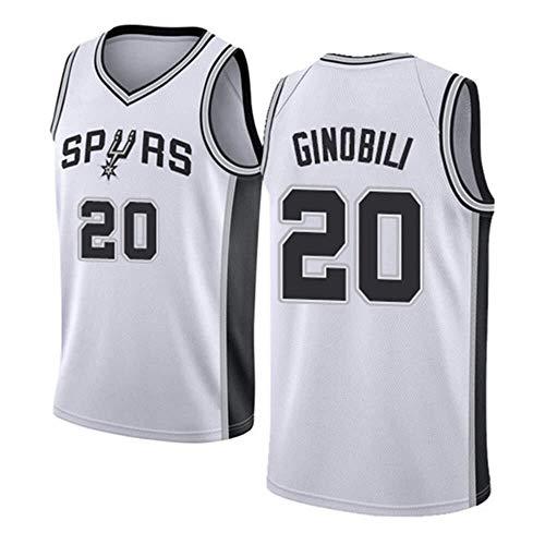 ASSD Camiseta de baloncesto para hombre y mujer, de la NBA Spurs 20# Ginobili bordada de malla (color: blanco, talla: S)