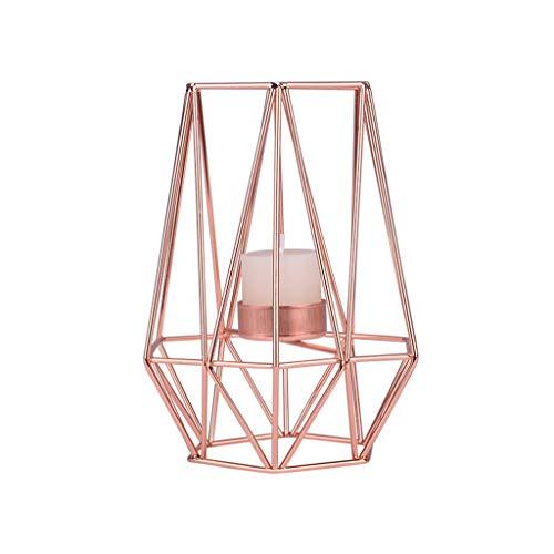 Igemy Nordischen Stil Schmiedeeisen Geometrische Kerzenhalter Dekoration Metall Handwerk (Rosegold M)