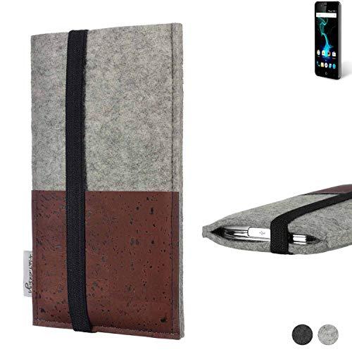 flat.design Handy Hülle Sintra für Allview P6 Pro Handytasche Filz Tasche Schutz Kartenfach Case braun Kork