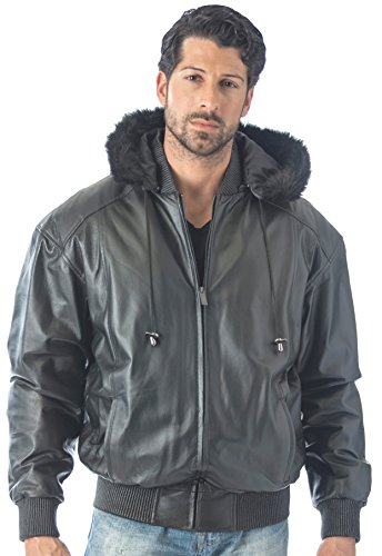 REED Men's Detachable Hooded Faux Fur Leather Bomber Jacket with Baseball Style Collar (5X, Black)