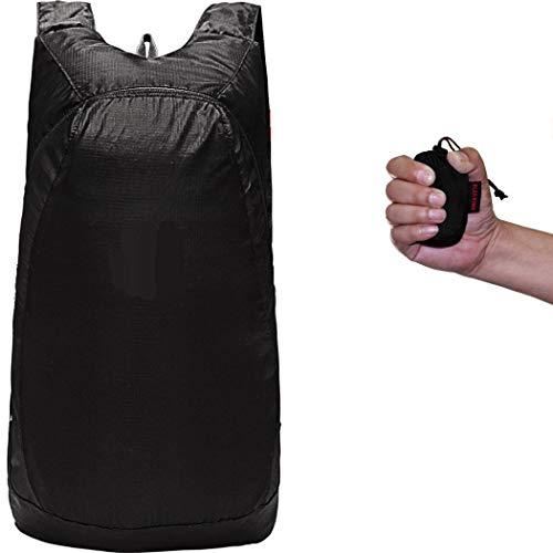 Abcsea 1 Stück schwarz Faltbarer Leichter Rucksack tagesrucksack, Kleiner ultraleichter Faltbarer Rucksack, Kleiner wasserfester wanderrucksack, Outdoor packbarer Reiserucksack Wasserdicht-20L