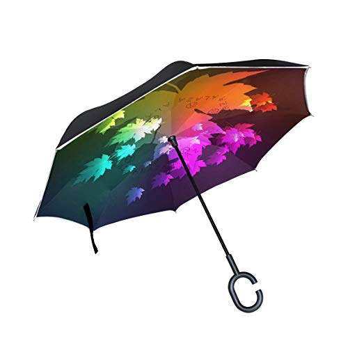 Jojogood Neon Lights Maple Leaves Inverted Umbrella Reverse Auto Open Double Layer Windproof UV Protection Upside Down Umbrella for Car Rain Outdoor Use