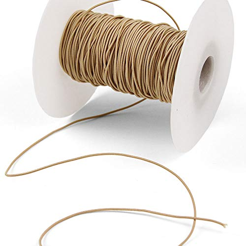 3 Yards of REILLY 1mm Round Elastic Cord, Tan