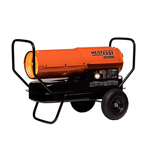 HeatFast HF125K Portable Home, Jobsite, Construction Site Forced Air Kerosene/Diesel Salamander Torpedo Space Heater with Thermostat Temperature Control, 125,000 BTU, orange