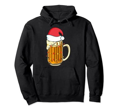 Cerveza de Navidad bebiendo santa sombrero navidad Sudadera con Capucha