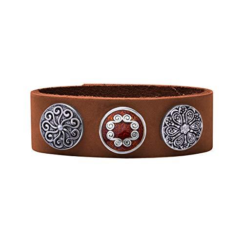 Quiges Damen 18mm Druckknopf Armband aus Leder Kupferbraun mit Rosa und Silberne Click Buttons