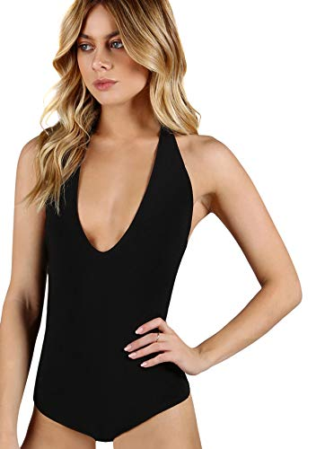 SweatyRocks Women's Sexy Deep V Sleeveless Backless Halter Leotard Bodysuit Romper Black XS