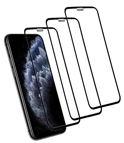 Eachy Compatibile con Vetro Temperato iPhone X/iPhone XS/iPhone 11 PRO Pellicola Protettiva,[3 Pezzi] Protezione Schermo iPhone X/XS/iPhone 11 PRO Copertura Completa Bordo a Bordo 5,8 Pollici-Nero