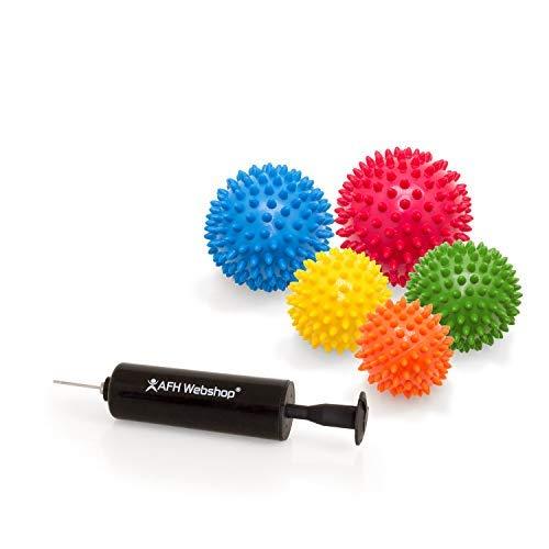 5er SPAR SET mit Pumpe | Massagebälle mit Noppen | Noppenbälle | Igelbälle | Arthro Sensorik Ball | Nicht aufgepumpt! | Härte kann selbst variiert werden