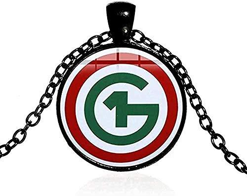 LBBYMX Co.,ltd Halskette Ungarn Statement Halskette Einfaches Spezialsymbol 3D-Effekt Glasbild Cabochon Anhänger Halskette Frauen Männer Schmuck
