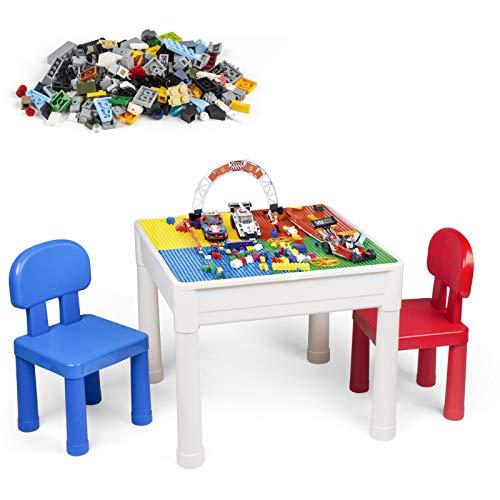 LADUO Set di sedie da Tavolo per Bambini, Giocattolo in Mattoni da 200 Pezzi, Tavolo da Gioco 5 in 1 Tavolo da apprendimento Include 2 sedie e Tavolo da Costruzione