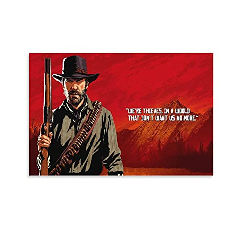 YuFeng_Art_Inn Red Dead Redemption 2, Arthur Morgan Poster Decorative Painting Canvas Wall Art Living Room Posters Bedroom Painting 16×24inch(40×60cm)