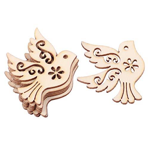 Baosity 10/50 Piezas de Madera Sin Terminar Corazón Copo de Nieve Formas de Madera Adorno Artesanías - 36x37mm