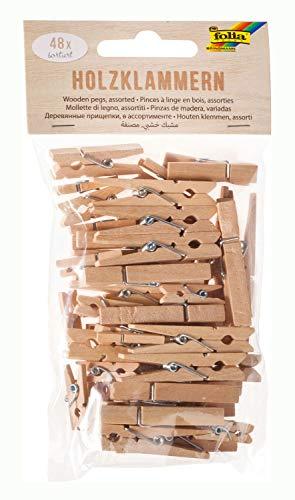 folia 2294 - Holzklammern natur, 48 Stück, sortiert in 3 Größen - ideal für Notizen, Dekorationen und Fotoleinen