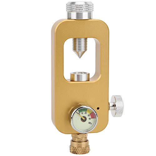 Sxhlseller Adaptador de Cilindro de oxígeno liviano, Conector de inflado de 8 mm Adaptador de Buceo de operación Simple con manómetro Adecuado para Uso subacuático(Golden)