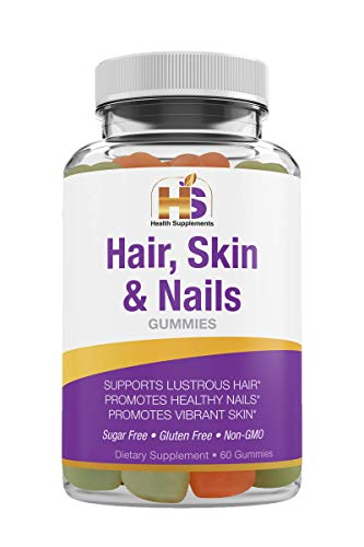 Health Supplements Hair, Skin and Nails, 5000mcg Biotin Gummies. Supports Lustrous Hair, Healthy Nails and Vibrant Skin. Strawberry/Coconut Flavor, All-Natural, Vegan No GMO, Gluten Free. 60 Count