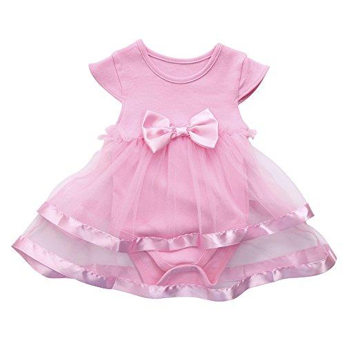 JoJody - Body de tul para bebé, manga corta rosa 6-9 Meses