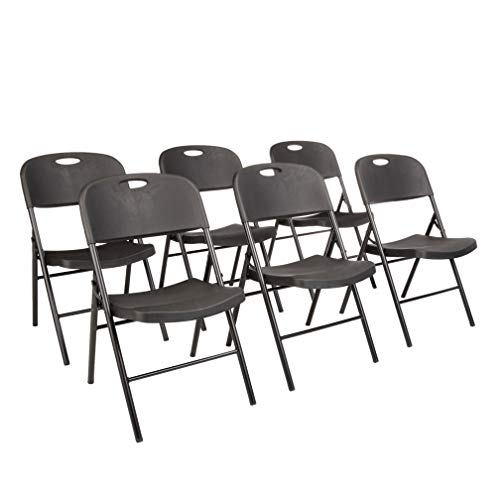 Amazon Basics Folding Plastic Chair, 350-Pound Capacity, Black, 6-Pack
